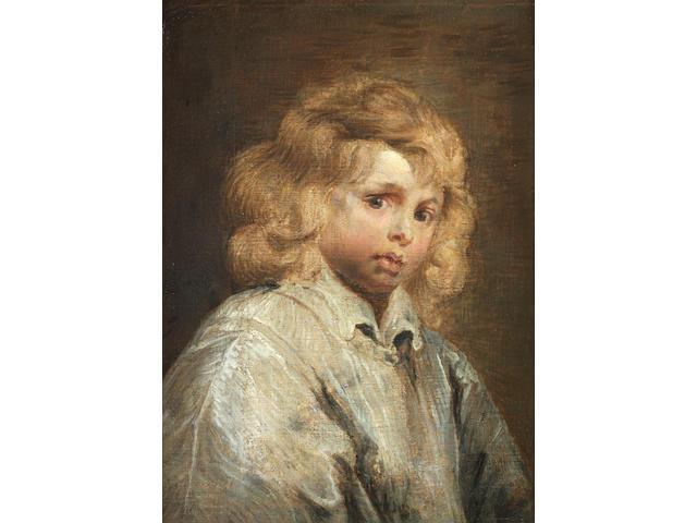 English School, 18th Century Portrait of a boy, half-length, in a cream smock