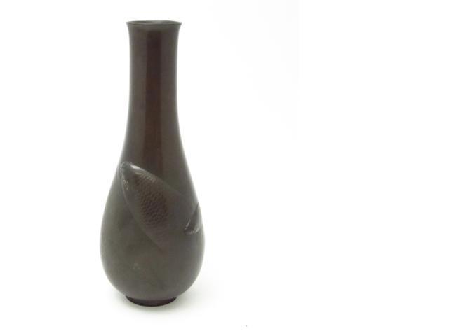 A bronze carp vase Meiji