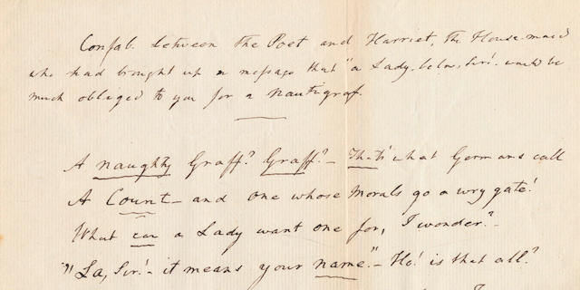 COLERIDGE, SAMUEL TAYLOR (1772-1834) UNPUBLISHED AUTOGRAPH MANUSCRIPT POEM 'A NAUGHTY GRAFF?', 1832