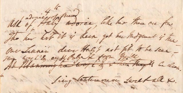 GARRICK, DAVID (1717-1779) AUTOGRAPH REVISED MANUSCRIPT OF HIS UNPUBLISHED POEM 'O LIST TO MY DITTY'