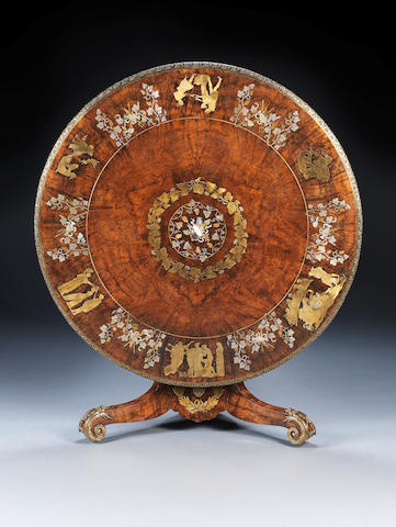 THE 1851 GREAT EXHIBITION: 'The Opening of Pandora's Box' An early Victorian figured walnut, brass, pewter, copper, mother of pearl and ivory inlaid centre table by R. W. Herring & Sons, the marquetry scenes designed by John Flaxman