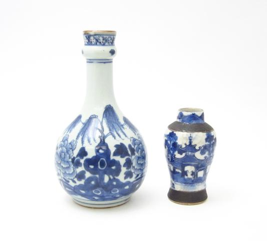 Two blue and white vases Early and late 19th century