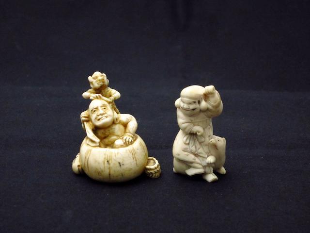Two figural netsuke Meiji