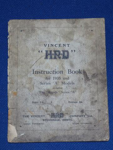 A rare Vincent HRD series 'A' instruction book,
