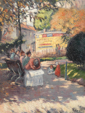 Isidro Nonell y Monturiol (Spanish, 1872-1911) Figures in a sunlit park