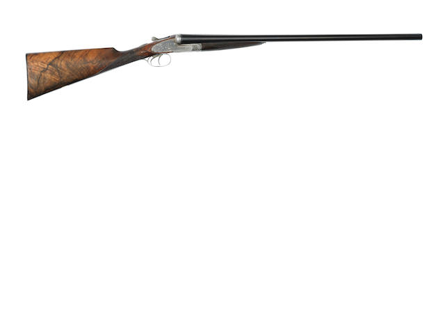 A 12-bore sidelock ejector gun by T. Newton, no. 4866 In its brass-mounted leather case