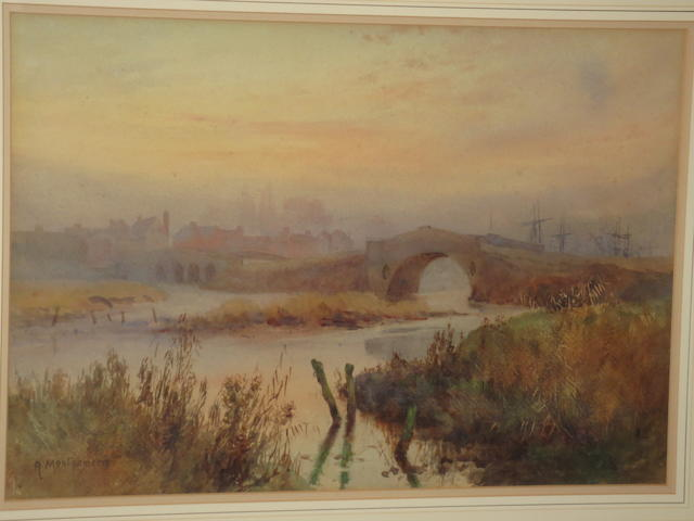 English School, 19th Century Landscape with River at Dusk