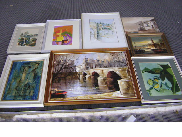 A collection of eight decorative picturesand prints,to include a French town scene with bridge and river (8)£80-120