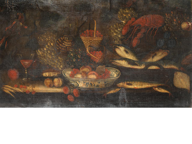 English School, 18th Century A still life of a lobster, mackerel, pike, grapes on a table top