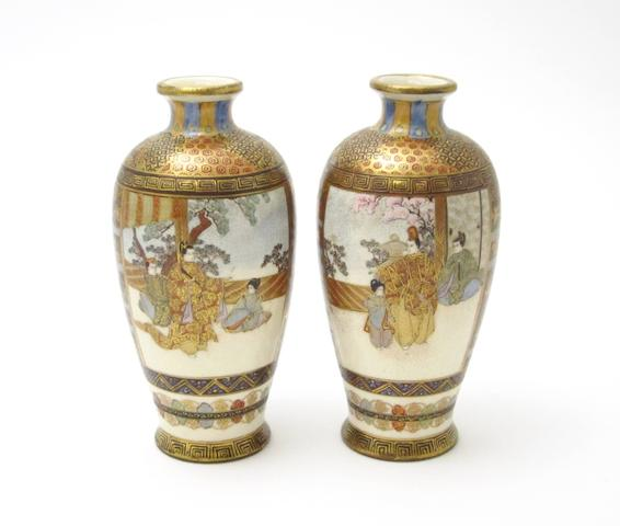 A pair of Satsuma vases Meiji