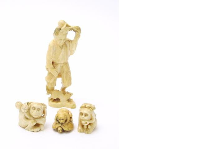 Three money netsuke and a figural okimono Meiji