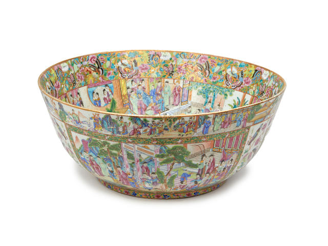A very large Chinese Canton famille rose punch bowl Mid 19th Century