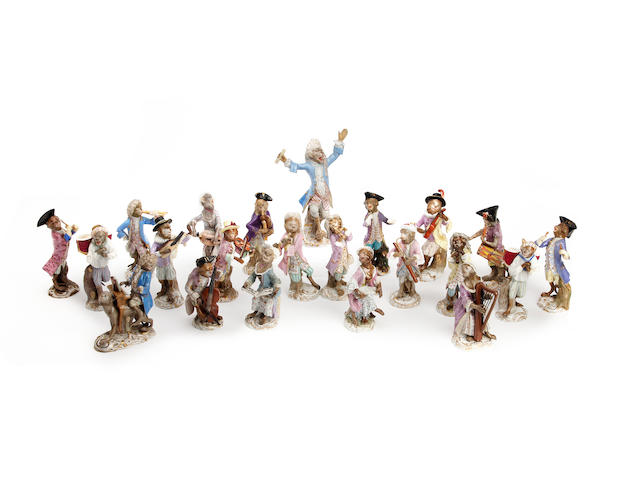 A collection of Meissen Monkey band figures  Late 19th Century/early 20th Century