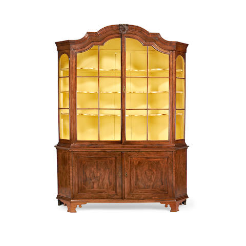 A Dutch 19th century walnut display cabinet