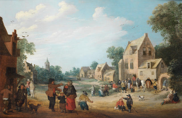 Joost Cornelisz. Droochsloot (Utrecht 1586-1666) A village with figures gathered outside an inn