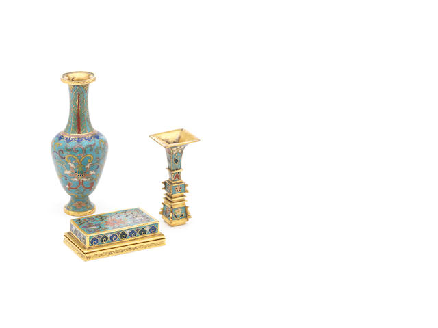 Three cloisonné enamel vessels, Qianlong - including a miniature gu vase, a weight and a baluster shaped vase