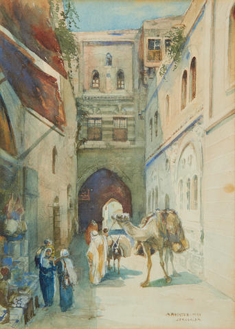 Anna Rychter-May (British, active early 20th century) Street scenes, Jerusalem. (2)