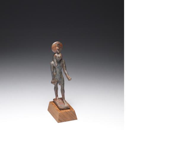 An Egyptian bronze figure of Re-Horakhty