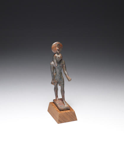 An Egyptian bronze figure of Re-Horakhty