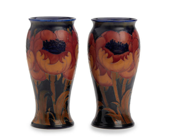 A pair of William Moorcroft 'Big Poppy' design vases Circa 1925