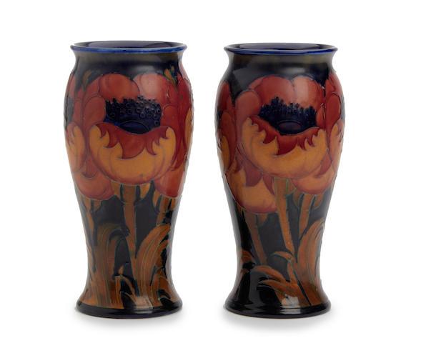 A pair of William Moorcroft 'Big Poppy' design vases Circa 1925