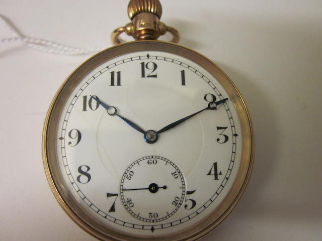 A 9 carat gold open faced pocket watch,