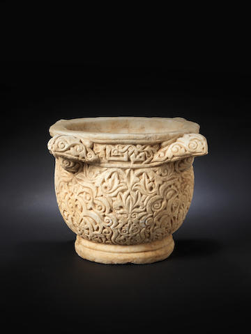 A rare carved marble Water Basin Syria or Jazira, 11th/ 12th Century