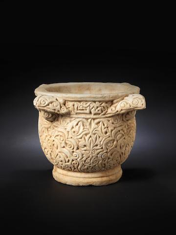 A rare marble basin Jazira or Syria, 11th/ 12th Century