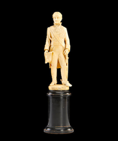 A 19th century Dieppe ivory figure of Arthur Wellesley, 1st Duke of Wellington (1769-1852)