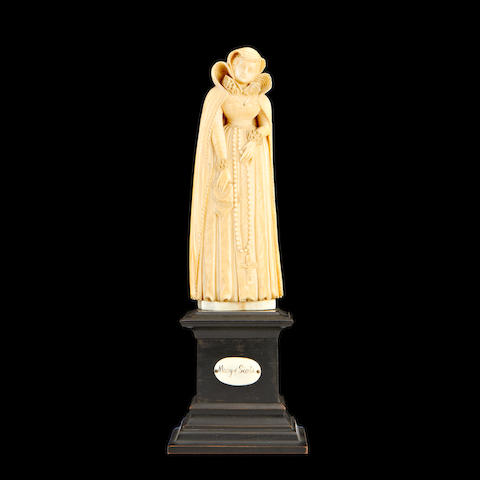 A 19th century Dieppe ivory figure of Mary, Queen of Scots (1542 – 1587)