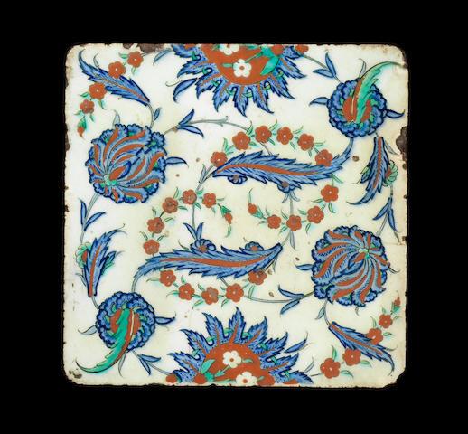 An Iznik pottery Tile