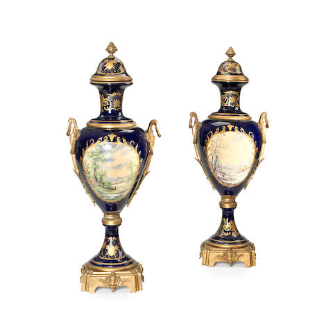 A very large pair of Sevres style bronze mounted urns 20th century