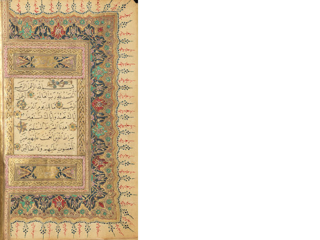 An illuminated Qur'an copied by the scribe Mustafa al-Hafiz Rushdi Ottoman Turkey, dated Rabi' al-Awwal 1228/...1813-14