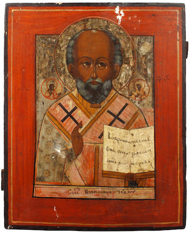 Two 19th Century Russian icons, on panel, depicting St Nicholas/Nickolas