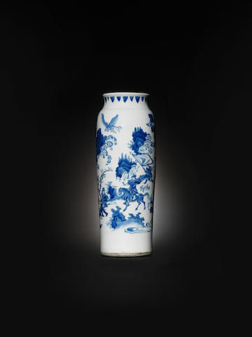 A blue and white vase, rolwagen Chongzhen