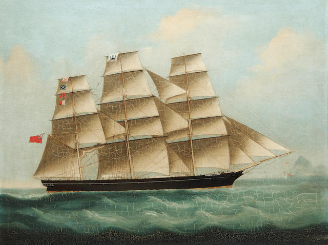 Chinese School, 19th Century Portrait of the clipper Elizabether Nicholson, off Hong Kong?