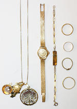 A fancy-link bracelet and other jewellery items