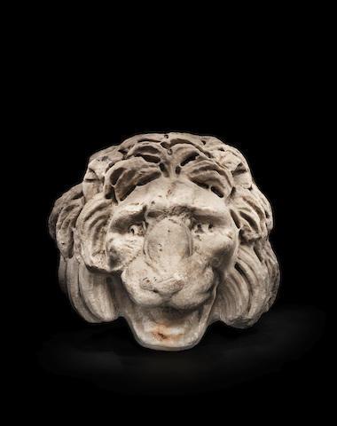 A Roman marble lion head