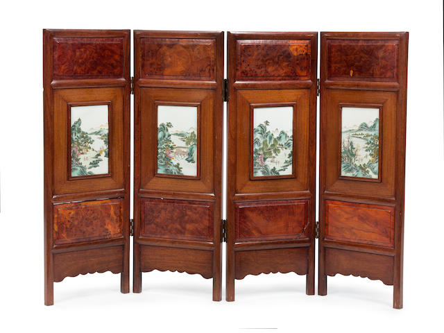 A Chinese four-fold table screen inset with famille rose porcelain panels Mid to late 19th Century