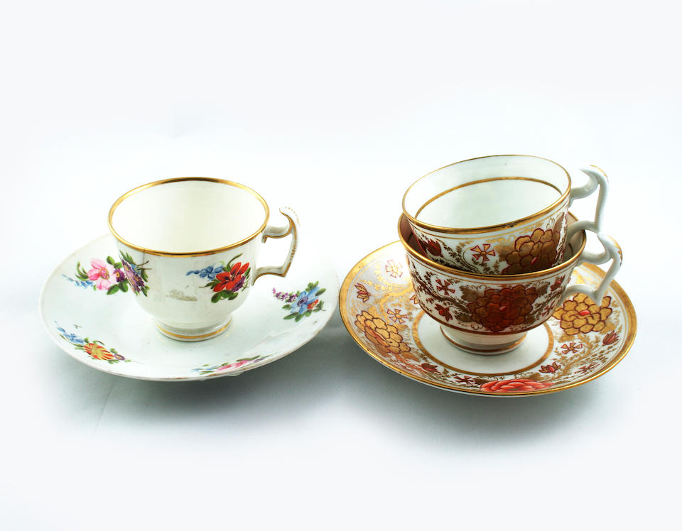 A Collection of Swansea Cups and saucers Circa 1815-17