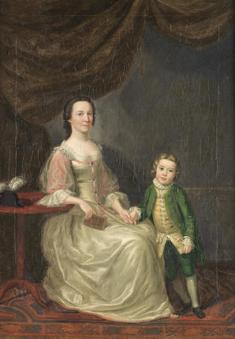 English School, circa 1740 Portrait of a lady, full-length, in a white and pink dress, seated beside
