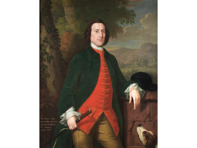 ** Heatley Portrait of John Clayton, three-quarter length, in a blue coat and red waistcoat, standing beside a spaniel in a landscape in original carved and giltwood frame