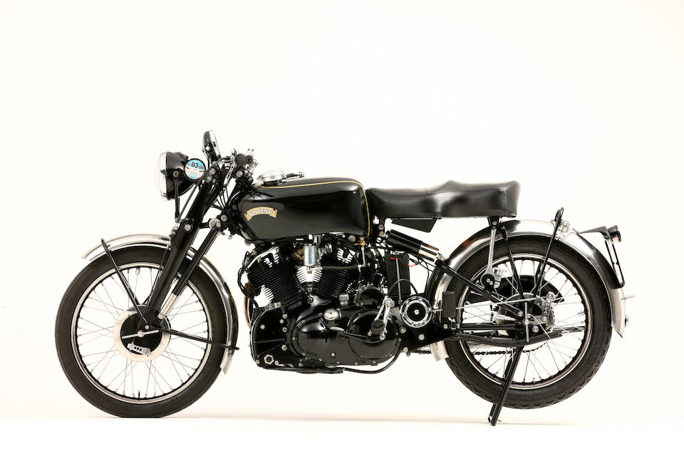 The ex-works, Montlhéry speed record attempt,1952 Vincent 998cc Black Shadow Frame no. RC/10656B Engine no. F10AB/1B/8756