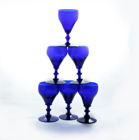 Two Bristol blue-tinted decanters  Circa 1790-1810