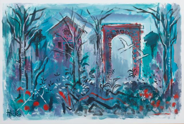 Philip Hicks (British, 1928) Folly and woods