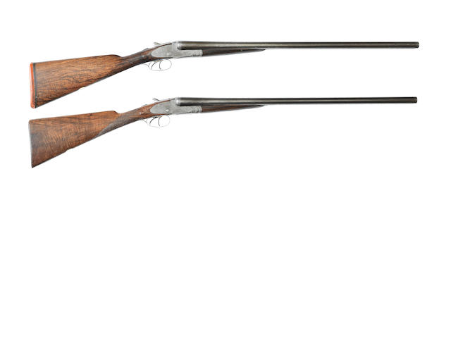 A pair of 12-bore sidelock ejector guns by E.M. Reilly & Co., no. 33717/8 In a C.S. Rosson & Co. brass-mounted leather case