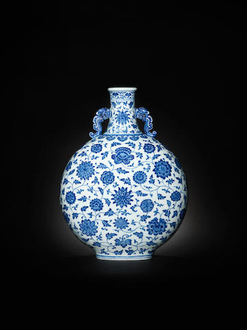 A magnificent rare blue and white moonflask, bianhu Qianlong seal mark and of the period