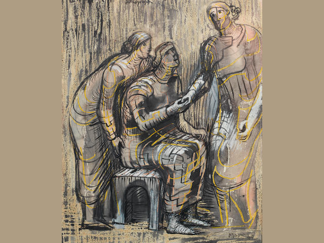 Henry Moore O.M., C.H. (British, 1898-1986) Three Female Figures 29 x 23.5 cm. (11 3/8 x 9 1/4 in.)