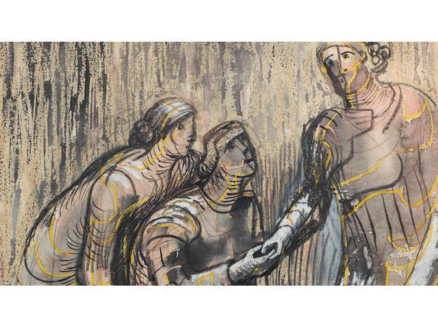 Henry Moore O.M., C.H. (British, 1898-1986) Three Female Figures 29 x 23.5 cm. (11 3/8 x 9 1/4 in.)