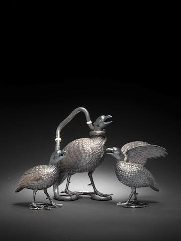 A repoussé silver Tea Service in the form of three Black Francolins by Oomersi Mawji, Baroda, circa 1920-30  (3)